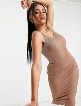 Flounce ribbed midi dress in beige-Neutral