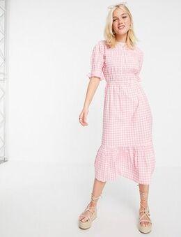 Midi dress in pink gingham