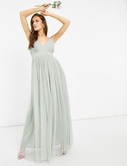 With Love Bridesmaid tulle plunge front maxi dress in sage-Green