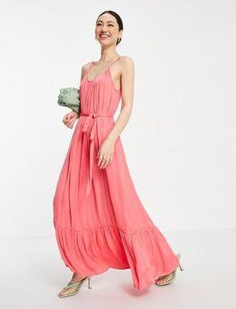 Satin maxi cami dress in coral-Pink
