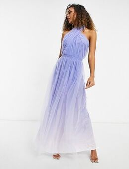 High neck ombre maxi dress in blue