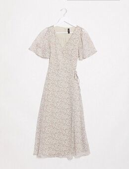 Midi wrap dress in cream ditsy floral-Multi
