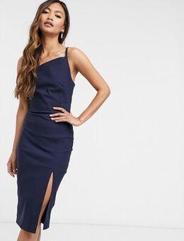 Bodycon midi dress with split in navy