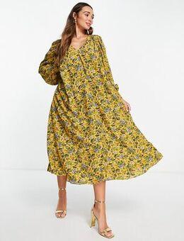 Trapeze midi dress in floral print-Yellow