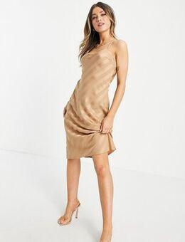 Cross back satin midi dress in capuccino-Brown