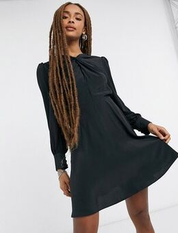 Twist neck mini dress in black