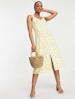 90s tea midi dress in lemon floral-Yellow