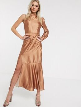 Satin midaxi dress with one shoulder in caramel-Brown