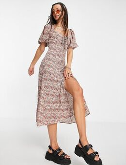 Casual ditsy button through midi dress in pink