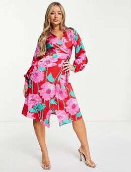 Midi wrap dress in overscaled floral dress in red and fuchsia-Multi