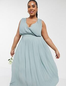 Bridesmaid pleated wrap front midaxi dress in sage-Green