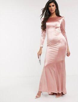 Slinky sheen long sleeve maxi dress in rose gold-Pink