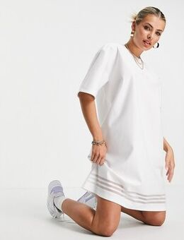 Bellista logo t-shirt dress in white with mesh stripes