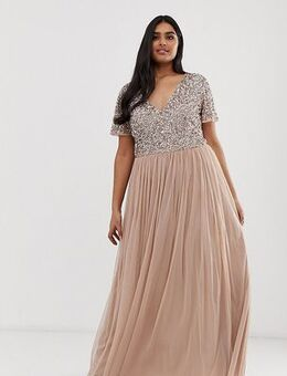 Bridesmaid v neck maxi tulle dress with tonal delicate sequins in taupe blush-Brown