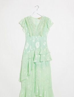 Plunge front maxi dress with lace detail and short sleeve in mint green-Blue