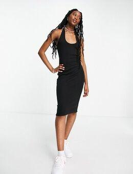 Halter neck rib dress in black