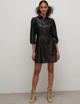 Shirt dress in faux leather-Black
