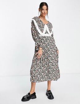 Midi dress with oversized bib in dark floral-Multi