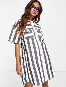 Valdis stripe denim shirt dress in black and white-Multi