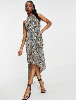 Halter neck midi dress in animal-Multi
