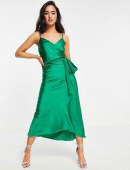 Satin midi cami dress in green