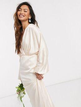 Bridesmaids long sleeve sateen maxi dress in light blush-Cream