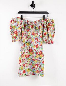 Floral mini dress with puff sleeves-Multi