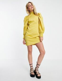 Poplin dress with exagerated sleeve in yellow