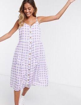 Midi cami dress in gingham-Purple