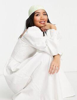 Shirred textured midi dress in white