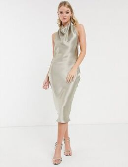 Halter cowl front satin slip midi dress-Brown