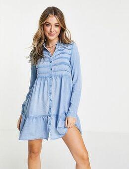 Long sleeve shirt dress in chambray-Blue