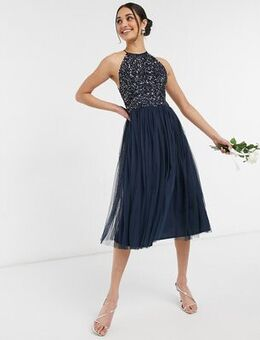 Bridesmaid halter neck midi tulle dress with tonal delicate sequin in navy