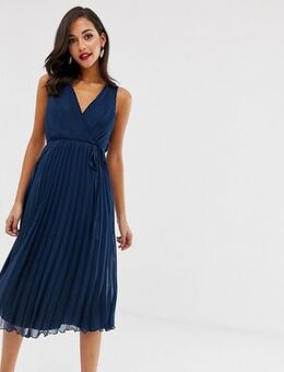 Wrap bodice midi dress with tie waist and pleat skirt-Navy