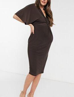 Knot midi dress in brown
