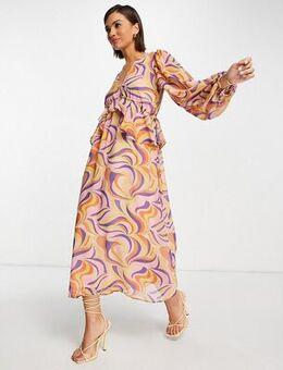 Frill midi dress in retro swirl print-Purple