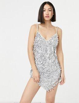 Curved hem disc embellished cami mini dress in silver