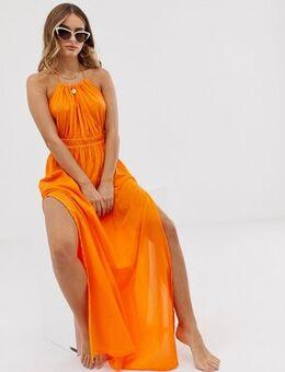 Beach maxi dress with ruched waist & halter neck in orange