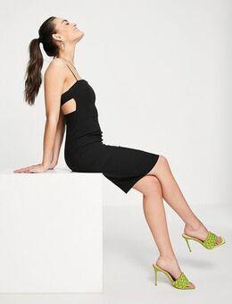 Strappy midi dress in black