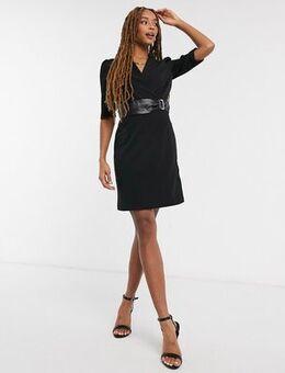 Blazer dress with snake belt detail in black