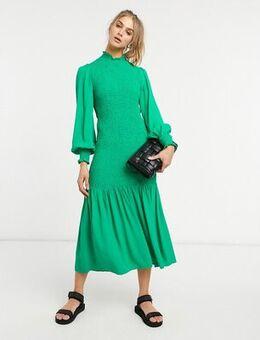 Dinah shirred dress in green