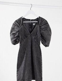 Inspired dress in washed black denim