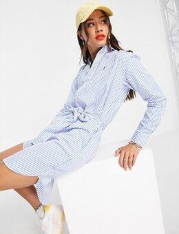 Tie front dress in stripe-Blue