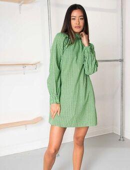 Long sleeve mini dress in mini check-Green