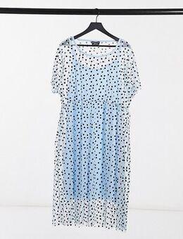 Midi smock dress in spot print-Blue