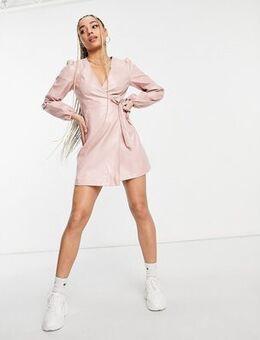 Faux leather wrap mini dress in dusty pink