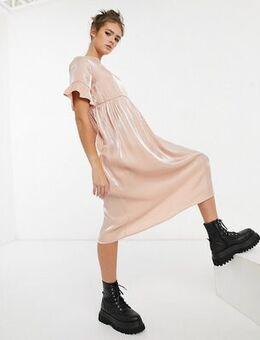Long smock dress in pink shimmer
