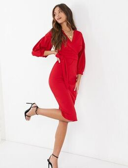 Plunge front puff sleeve midi dress in red