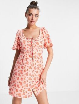 Mini smock dress with drill sleeves in vintage floral-Pink