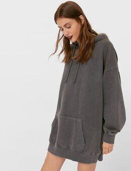 Hoodie dress in acid wash grey